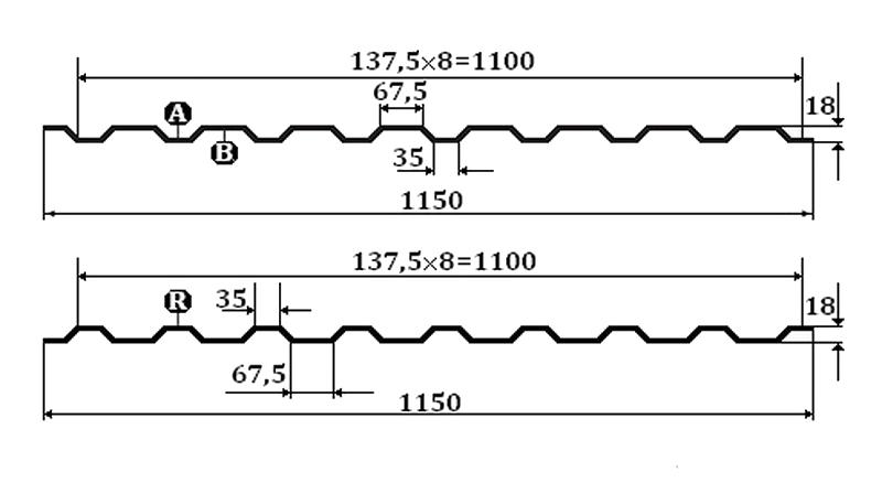 Профнастил МП-20 - размеры