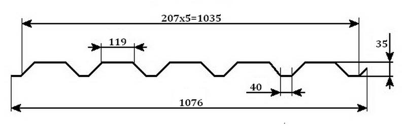 Профнастил МП-35 - размеры