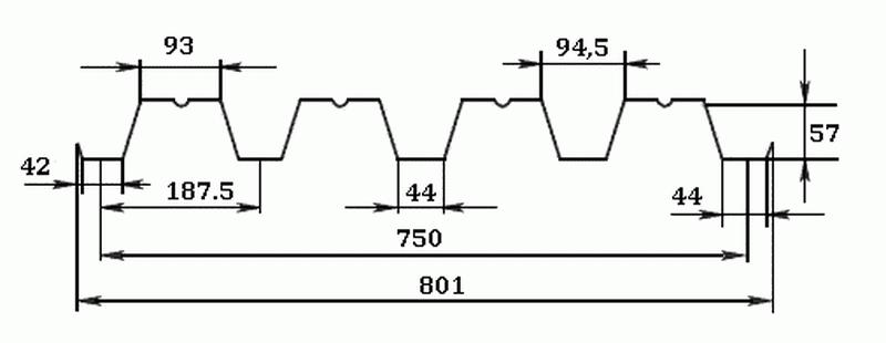 Профнастил Н57-750 размеры