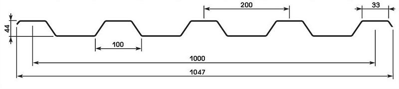 Профнастил С-44 - размеры